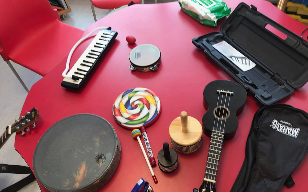 Table displaying a variety of musical instruments